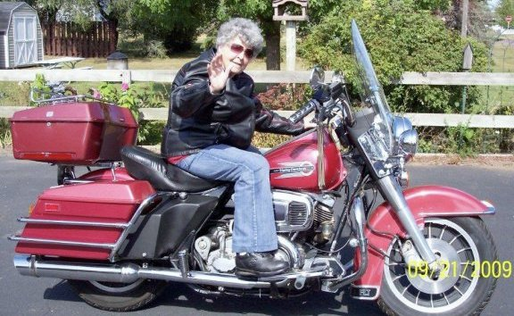 grandma on a motorcycle