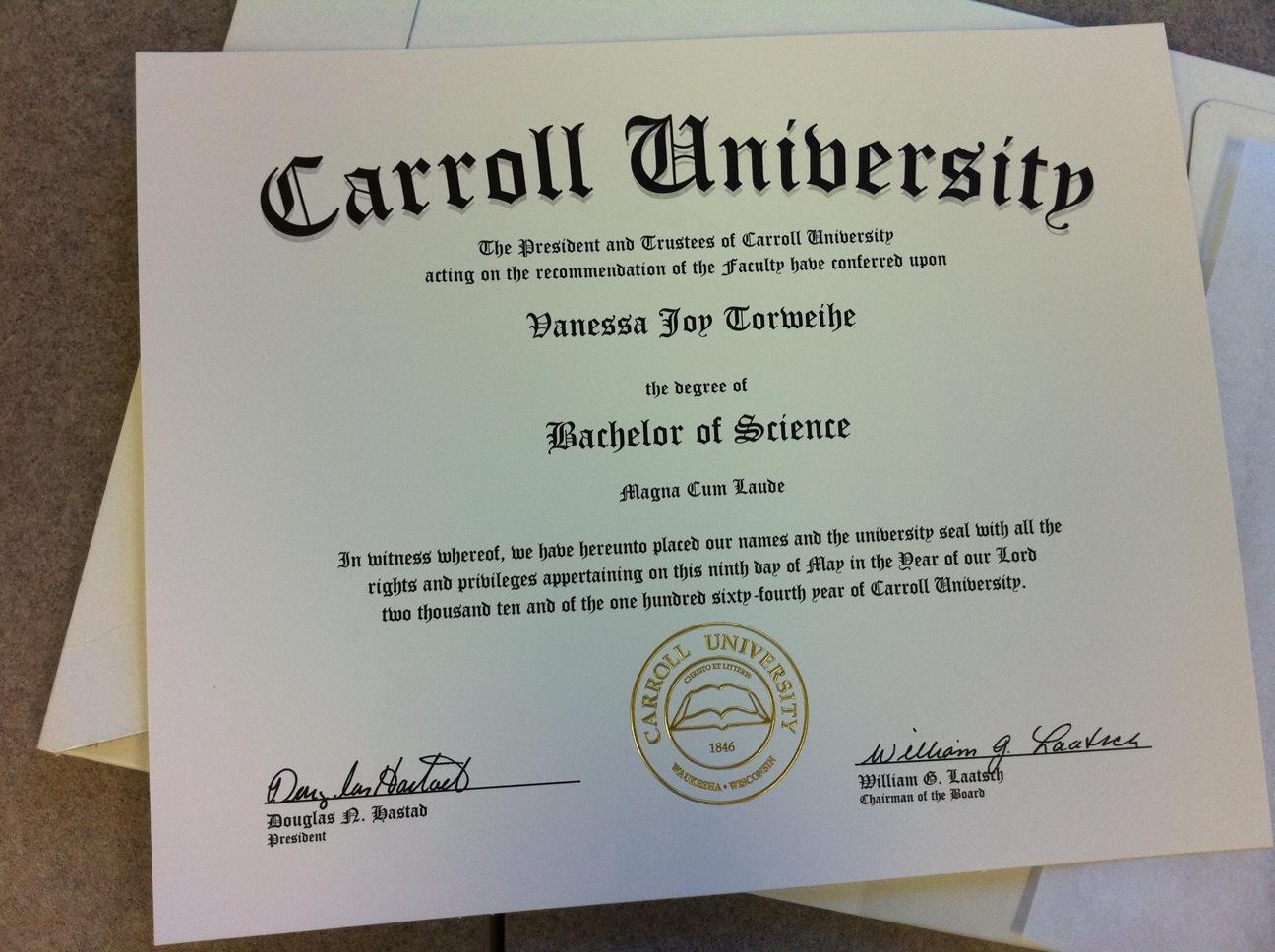 carroll university diploma