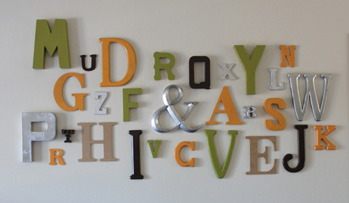 finished typography wall family room