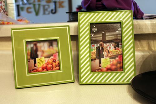 grocery store wedding photos in kitchen